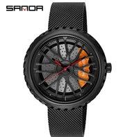 Оптовая модные модные кварцевые кварцевые движения точные мужские часы Hardlex сетчатые ремень часы личности, выдолбленные автомобильные RIM наручные часы
