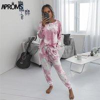 Aproms elegant rosa druck trainingsanzüge weibliche 2 stück set casual top und hosen herbst loungewear hoodies passt für frauen kleidung1