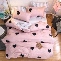 المنسوجات النمط الشمال نمط الوردي القلب مجموعة مفروشات لطيف البياضات السرير غطاء لحاف الغطاء وبلول الملكة الملك الحجم مجموعات المنسوجات المنزلية