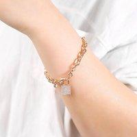 Zircon Bloqueio Charm Pulseiras para Mulheres Na moda Corrente de Link de Ouro Pequeno Cadeado Cadeado Luxuoso Jewlery Accessories presentes 2021