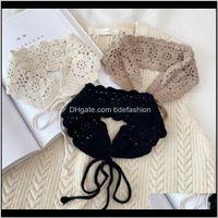 Bow Fashion Aessoriesliiway Cotton Hollow Weave Fake Collars Women Detachable Shirt False Collar Small Scarf Summer Dress Lapel Neck Ties Sh