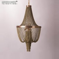 الحديثة الثريا ضوء مصابيح قلادة خمر سلسلة الألومنيوم شنيعة مصباح بريقا مطعم فندق غرفة المعيشة غرفة نوم داخلي إضاءة