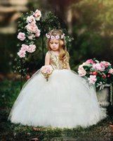 Rose Gold Sequined Flower Girl Dresses For Weddings Lace Sequins Bow Open Back Sleeveless Girls Pageant Dress Kids Communion Gowns
