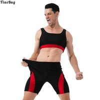 Gym Clothing TiaoBug 2Pcs Men Sleeveless Muscle Half Sports Tank Top Compression Tights Shorts Sport Suits For Workout Running