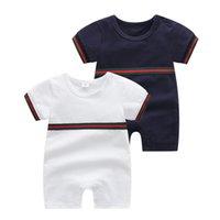 Verão Bebé Boy Designer Macacão Recém-nascido Meninas Stripe Escalada Roupas Moda Infantil Cottons Manga Curta Macacão para 0-24 MESES S1016