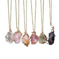 Punto de curación de cuarzo de cristal natural Chakra Bead Piedra de piedras preciosas Mujeres Hombres Colgante Original Estilo de piedra Joyería