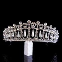Vintage Silver Plated Queen Princess Diana Crown Crystal Pearl Diadem For Bridal Hair Accessories Bride Headbands Tiara De Noiva