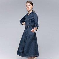 Denim dress women's autumn and winter mid long sleeve single breasted stitching waist swing