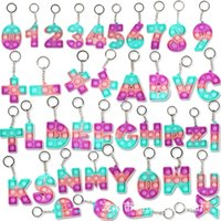 Kawaii Graffiti Uppercase Letter Numbers Push Bubble Fidget Toys Adult Stress Relief Toy Popits Cute Backpack Pendant Keychain