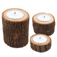 Stump Candle Holder 3pcs set Pillar Rustic Tree Wooden Candlestick Mini Flowerpot Outdoor Garden Succulents Flowerpot HHD7046