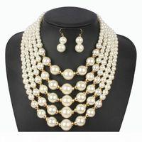 Imitation Pearl Beige Jewelry Set Elegant Wedding Classic Multilayer Handmade Beads Choker Necklaces Earring Colares Femininos For Women