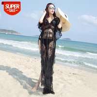 Seaside vacation beach clothes hollow long skirt full lace see-through dress sunscreen blouse women #uJ7J