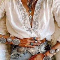 Ayualin manga comprida branco laço floral v-pescoço blusas camisa de algodão casual blusa de outono de alta qualidade mulheres boho roupas blusas 210401