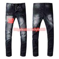 2021 Men's Distressed Ripped Skinny Jeans Fashion Mens Jeans Slim Motorcycle Moto Biker Causal Mens Denim Pants Hip Hop Men Jeans Size 28-40