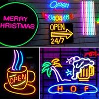 Tiras Luces de neón LED LED Hada Impermeable Tira Luz Flexible Mutil-Color para Bar Party Decoración de Navidad Dimagen con fuente de alimentación DC 12V