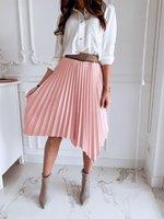 Skirts Summer Womens BOHO Stretch High Waist Plain Long Pleated Skirt Asymetrical Femme Midi Party Clubwear Streetwear
