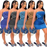 Дизайнерские женские платья Цифровое позиционирование сгоревших бюстгальтеров без рукавов без рукавов Sexy Imitation Denim летнее платье