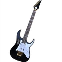 Tree of Life Inlay Black Body Electric Guitar with Golden Hardware,Tremolo Bridge,can be customized