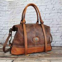 Sacs IMYOK Vintage Sac à main en cuir pour femme Totes de voyage de femme à la main Grande capacité d'épaule designer Bolsa Femini