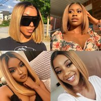 Synthetic Wigs Ombre Blonde Straight Short Bob None Lace Middle Part 1B 27 Hair For Black Women