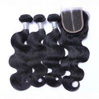 8A Brasileño Virgin Human Hair Teje 3 paquetes con cierre de encaje Indian Malasian Indian Camboya Campóleo Body Wave Hair y cierres 4x4 Tamaño