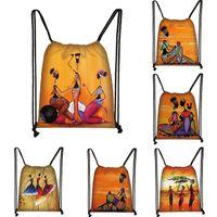 Black Art African Girl Print drawstring bag Women fashion storage bags student Africa Latin America girl backpack bookbag