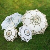 Paraguas boda encaje paraguas algodón bordado nupcial blanco beige parasol sol decoración de la decoración