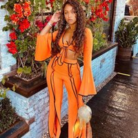 Women's Two Piece Pants 2 Set Women Fall Sexy Club Outfits For Clubwear Party Flare Sleeve Crop Top Matching Sets Suit
