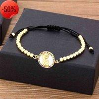 أزياء تصميم الذهب اللون العذراء ماري سحر أساور للنساء الفاخرة النحاس الزركون الخرز اليدوية سوار المجوهرات الدينية