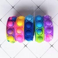 푸시 버블 실리콘 팔찌 감압 FIDGET 팝 손가락 장난감 팔찌 퍼즐 프레스 스트레스 손목 밴드 감각 타이 염색 스냅 링 판매 G71ZOWP