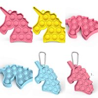 Cute Unicorn Stress Ball Keychain Push Bubble Poppers Poo-its Adult Board Game Toys Pop It Sensory Fidget Pads Toy Key Ring Holder BWC7465