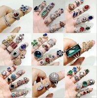 الملونة الحجر الطبيعي الحب خواتم للنساء السيدات الأحجار الكريمة مجوهرات الأزياء الدائري مزيج أنماط هدية عيد الحب