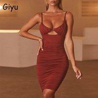 Vestidos casuais giyu 2021 vestido de outono mulheres sexy bodycon clube festa mini off ombro lace up oco sem encosto ruched vestidos