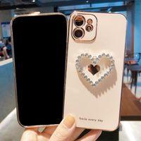 3D الماس القلب كروم لينة حالات الهاتف TPU لفون 12 11 برو برو ماكس x xr xs ماكس 7 8 زائد حالة الغطاء
