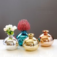Home Decoration Ornaments Crafts European-Style Electroplating Rose-Gold Gold Blue Silver 4 Colors Optional Ceramic Flower Vase Small
