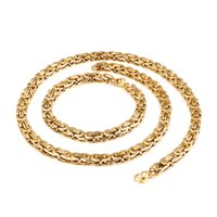 6mm wide 8''+ 20''Thin Silver  Gold  Black  Silver+Black King Chain Stainless Steel Flat Byzantine Chain Necklace Bracelet Mens Women set