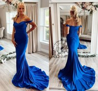 Designer Simple Royal Blue Mermaid Prom Dresses Off Shoulder Backless Sweep Train Women Formal Special Occasion Evening Party Dress Custom Made