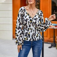 Women Summer Leopard Print Top Blouse Ladies Lantern Sleeve V Neck Chiffon Shirt Tops For Female Blusas De Verano Mujer D30 Women's Blouses