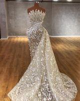 Preciosas perlas Sirenas Vestidos de novia Vestidos de novia con tren desmontable Africano nigeriano sin tirantes de encaje Aplique con cuentas Vestido de Novia