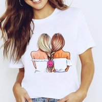 Women's T-Shirt 6Women Graphic Travel Vacation Sweet Fashion Trend Cute Printing Cartoon Lady Clothes Tops Tees Print Female Tshirt