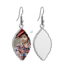 Ladies Sublimation Blank Pendant Earrings Chandelier Creative Heart Shaped Water Drop Metal Heat Transfer Earring DIY Jewelry AHA5669