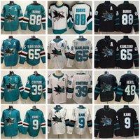 Erkekler Ters Retro San Jose Sharks Jersey Hokey Buz 9 Evander Kane 39 Logan Couture 65 Erik Karlsson 88 Brent Burns 48 Tomas Hertl Yeşil Beyaz Siyah