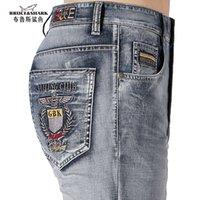 Bruceshark 2021 hombres de verano delgado elástico algodón recto casual moda vaqueros jeans masculinos tapa lavado