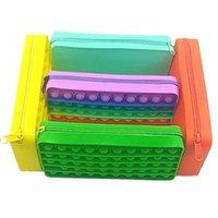 Ny Silicone Rainbow Party Gift Push It Bubble Pencil Case Enkel Finger Stress Relief Interaktiv Fidget Toy grossist