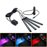 Car RGB LED Strip Foot Light Ambient Lamp Wireless Remote Auto Decorative Light Music Control Atmosphere Lamp Led Billboard Bar