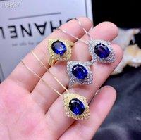 Collar de zafiro azul natural y anillo de plata Juego de joyería Gema Color oro Real 925 Adorno Regalo de cumpleaños Pulsera, Pendientes