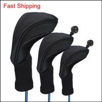 머리 3pcs 블랙 골프 헤드 커버 1 3 5 우드 헤드 커버 긴 목 니트 보호 커버 페어웨이 드라이버 클럽 액세서리 1 BPSXI Fived