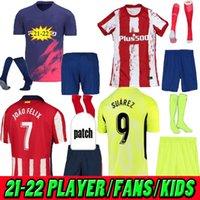 성인 + 키트 키트 20 22 Atletico Suárez Madrid 홈 멀리 3 축구 유니폼 키트 2021 2022 Camisetas de Fútbol Joao Felix 어린이 축구 셔츠