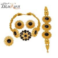الأقراط قلادة موكون الزفاف هدية الخرز الأفريقي مجموعة مجوهرات ماركة دبي الذهب اللون 2021 النيجيري الزفاف الجملة تصميم الأزياء