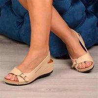Sandals PU Open Toes Buckle Back Strap Fashion Womens Platform Shoes For Women Sandalilas Sandles Woman Flat Sandal Summer